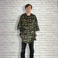 Adult Hospital Gift Fleece Poncho Cape Ivy Camouflage