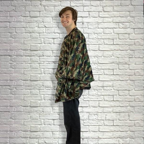 Adult Hospital Gift Fleece Poncho Cape Ivy Camouflage