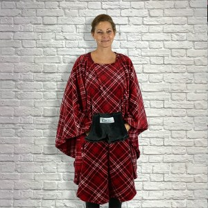 Teen Adult Hospital Gift Fleece Poncho Cape Ivy Red with Black White Plaid