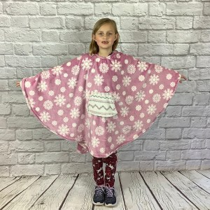 Child Hospital Gift Fleece Poncho Cape Ivy Reversible Rose Snowflakes