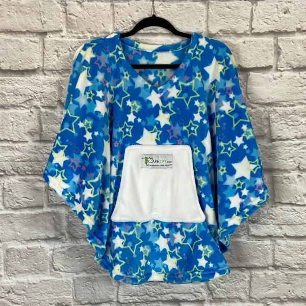 Child Hospital Gift Fleece Poncho Cape Ivy Blue Starry Night