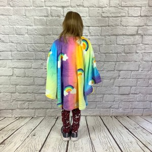 Child Hospital Gift Fleece Poncho Rainbow on Rainbow