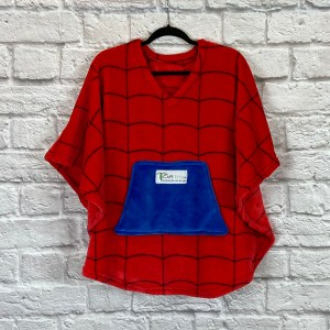 Child Hospital Gift Fleece Poncho Cape Ivy Red Blue Spider