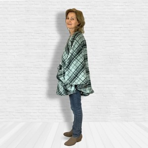 Teen Adult Hospital Gift Fleece Poncho Cape Ivy Gray Black Plaid
