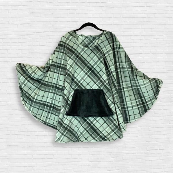Adult Hospital Gift Fleece Poncho Cape Ivy Gray Black Plaid