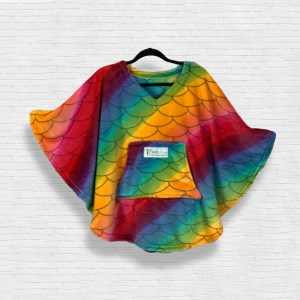 Child Hospital Gift Fleece Poncho Cape Ivy Rainbow Fish