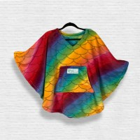 Child Hospital Gift Fleece Poncho Cape Ivy Rainbow Fish