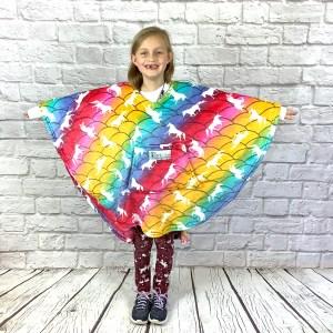 Child Hospital Gift Fleece Poncho Cape Ivy Unicorns Rainbow Scales