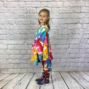 Child Hospital Gift Fleece Poncho Cape Ivy Unicorn Rainbow Scales