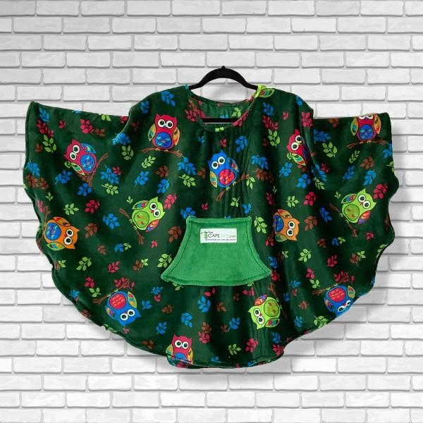 Child Hospital Gift Fleece Poncho Cape Ivy Owls on Green