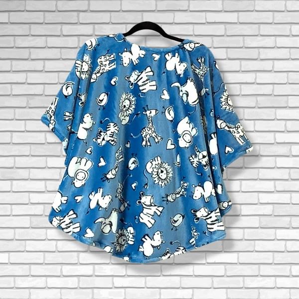 Child Hospital Gift Fleece Poncho Cape Ivy Chalk Animals Blue