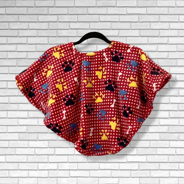 Toddler Hospital Gift Fleece Poncho Cape Ivy Primary Puppy Paws