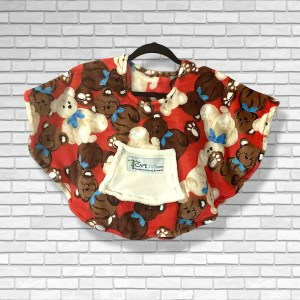 Toddler Hospital Gift Fleece Poncho Cape Ivy Teddies on Red