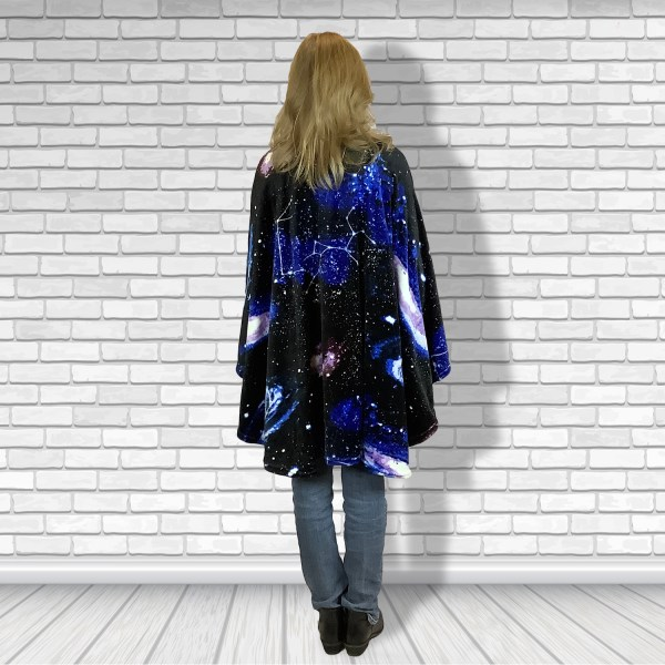 Teen Adult Hospital Gift Fleece Poncho Cape Ivy Constellations