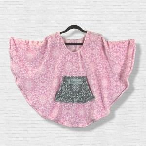 Child Hospital Gift Fleece Poncho Cape Ivy Pink Medallions