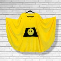 Teen Adult Hospital Gift Fleece Poncho Cape Ivy Yellow Smiley Face