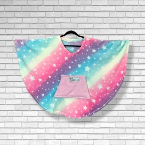 Child Hospital Gift Fleece Poncho Cape Ivy Rainbows and Stars
