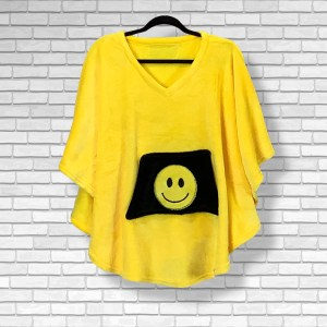 Child Hospital Gift Fleece Poncho Cape Ivy Yellow Smily Face