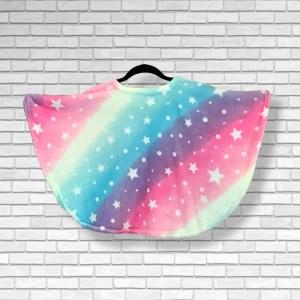 Toddler Hospital Gift Fleece Poncho Cape Ivy Rainbows Stars