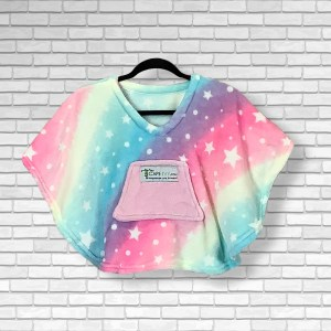 Toddler Hospital Gift Fleece Poncho Cape Ivy Pastel Rainbows and Stars