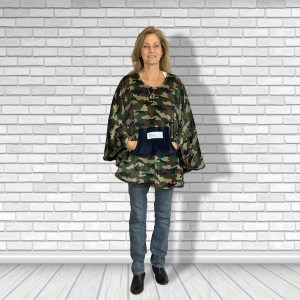 Teen Adult Hospital Gift Fleece Poncho Cape Ivy Camouflage with Blue Pocket