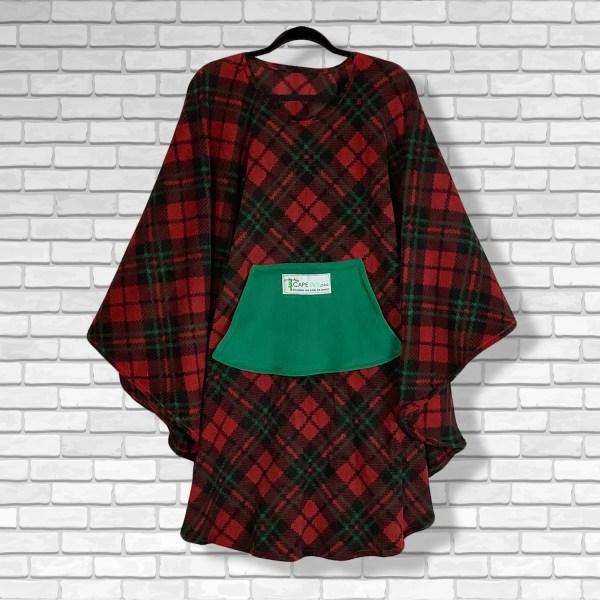 Teen Adult Hospital Gift Fleece Poncho Cape Ivy Christmas Plaid