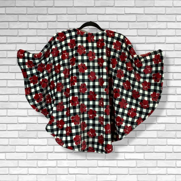 Child Hospital Gift Fleecde Poncho Cape Ivy Red Puppy Paws Black White Plaid