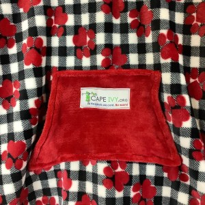 Red Puppy Paws on Plaid Cape Ivy
