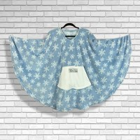 Teen Adult Hospital Gift Fleece Poncho Cape Ivy Icy Blue Snowflakes