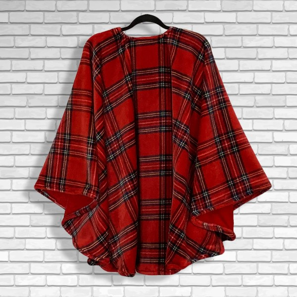 Teen Adult Hospital Gift Fleece Poncho Cape Ivy Red Stewart Plaid