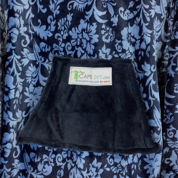 Child Hospital Gift Fleece Poncho Cape Ivy Floral Midnight Blue