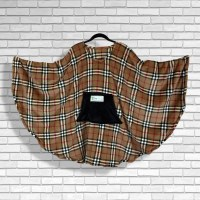 Teen Adult Hospital Gift Fleece Poncho Cape Ivy Plaid