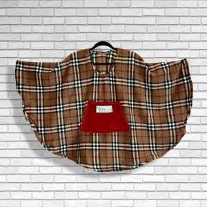 Child Hospital Gift Fleece Poncho Cape Ivy Tan Plaid