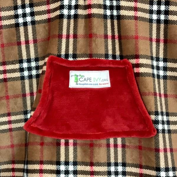 Child Hospital Gift Fleece Poncho Cape Ivy Tan Plaid