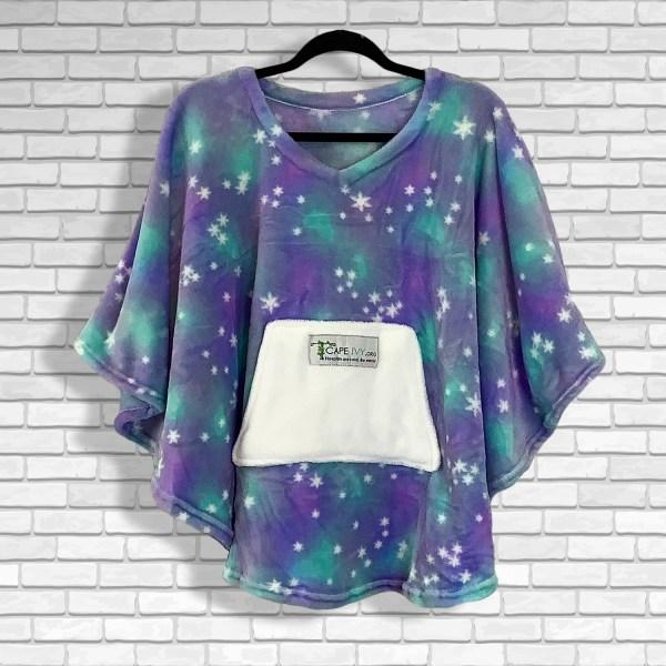 Child Hospital Gift Fleece Poncho Cape Ivy Purple Green Stars