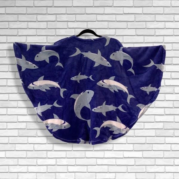Child Hospital Gift Fleece Poncho Cape Ivy Sharks Galore