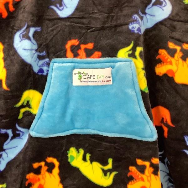 Child Hospital Gift Fleece Poncho Cape Ivy T-Rex Dinosaurs