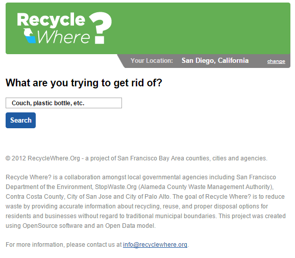 RecycleWhere Homepage Before