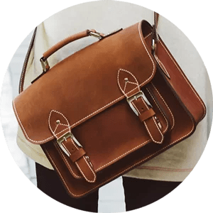 Woman on Street with Brown Leather Portfolio