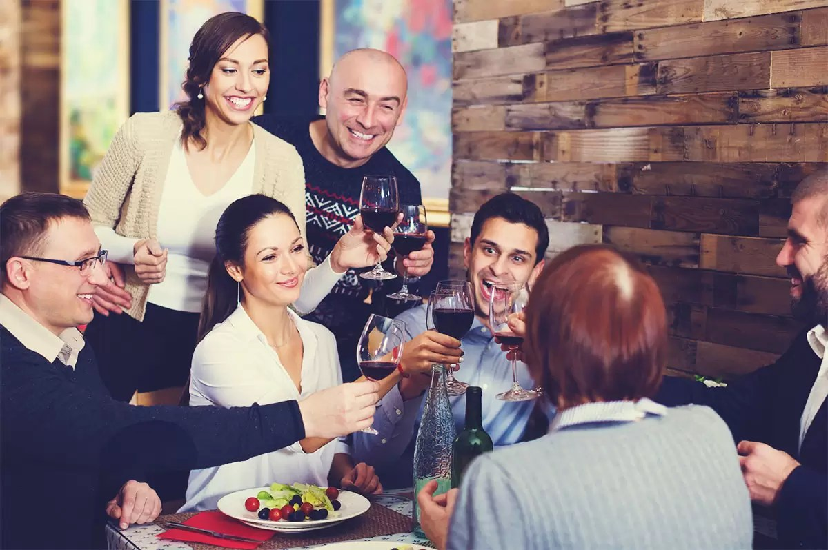 Happy Customers Toasting Wine During Tasting Room Visit