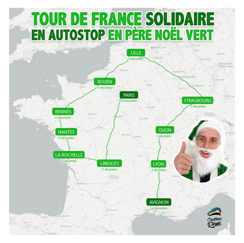 TOUR DE FRANCE SOLIDAIRE en autostop en père noël vert