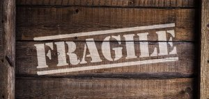 ''Fragile'' label on a package.