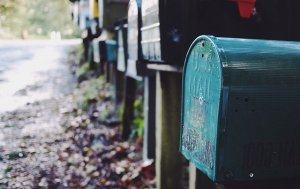 Row of mailboxes oudoors