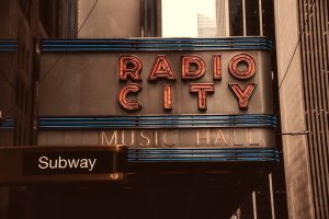 Sign that says Radio City Music Hall.