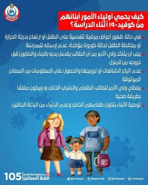 تعليمات هامة من الصحة لحماية الابناء من كورونا فى المدارس