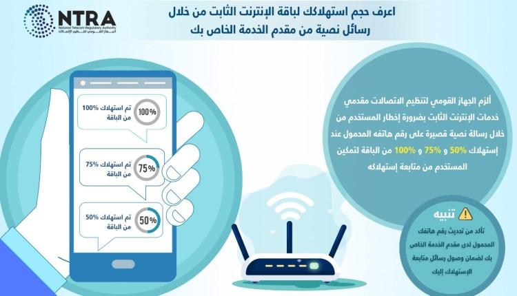 """""""جهاز الاتصالات"""" يلزم مقدمي خدمات الانترنت الثابت بإعلام المشتركين بحجم الاستهلاك بصفة دورية مجاناً"""