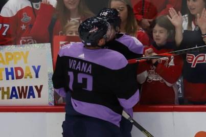 Jakub Vrana and Christian Djoos resume their pre-game tickle fights.
