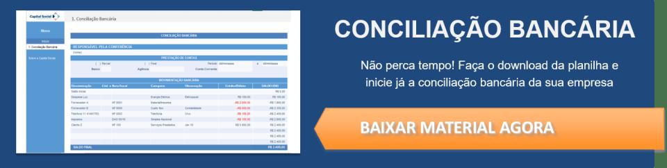 Imagem com link de download para planilha de conciliação bancária
