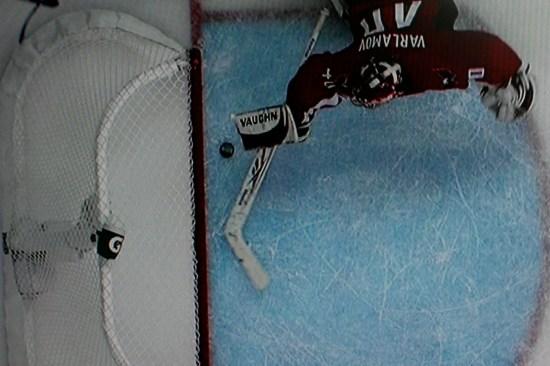 Varlamov robs Crosby.