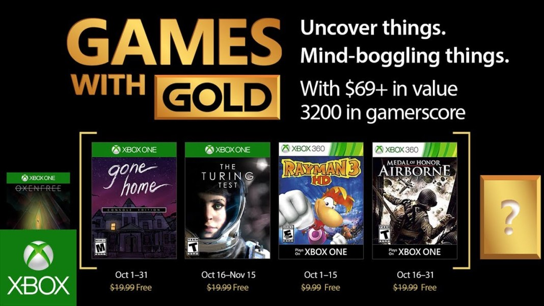 Games with Gold para octubre de 2017